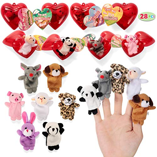 JOYIN 28 Valentines Day Pre Filled Hearts with Valentine Cards Filled with Finger Puppets for Kids Valentine Classroom Exchange, Cute Toys for Valentine Party Favors, Gift Exchange, Game Prizes