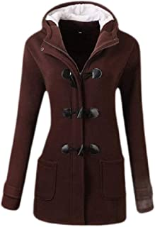 Macondoo Women's Overcoat Wool-Blend Toggle Hooded Winter Pea Coat