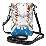 Jiger Women Small Cell Phone Purse Crossbody,Hand Drawn Baseball Bat And Ball On Grunge Colored Artistic Background