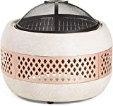 SFSGH Fogata con Parrilla para Barbacoa, Protector contra chispas y póquer-Calentador/Quemador de Patio de jardín de imitación de hormigón al Aire Libre para Madera y carbón