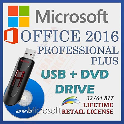 MS Office 2016 Professional PLUS Con controlador USB y DVD , Licencia minorista , Versión completa , Envío de entrega , NUEVO , Idioma: Español |