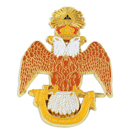 33rd Degree Double Headed Eagle Scottish Rite Masonic Auto Emblem - [Brown & White][3'' Tall]