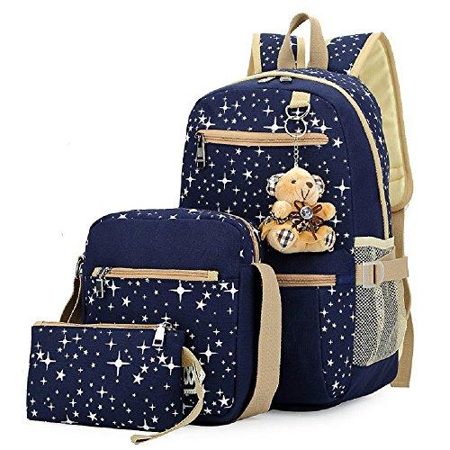Fanci Girls Star Prints Canvas Primary School Backpack Set with Crossbody Bag 3 pcs Deep Blue