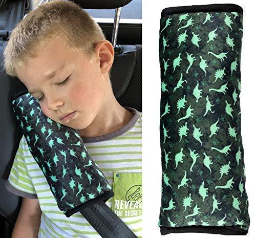 HECKBO® para coche con dibujos de dinosaurio para niños - lavable a máquina - suave, tacto de peluche - almohadilla de alta calidad para el cinturón de seguridad, funda almohadilla de cinturón