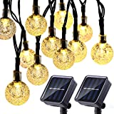 2 Pack Globe Solar String Lights, 20ft 30 LED Outdoor Bulb String Lights,Waterproof 8 Modes Solar Patio Lights for Patio, Garden, Gazebo, Yard, Outdoors (Warm White)