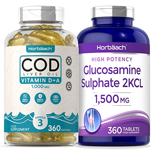 Cod Liver Oil 1000mg & Glucosamine 1500mg Complex | High Strength | 1 Year Supply | Non-GMO, Gluten Free Supplement