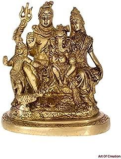 Shiv Family Brass Sculpture Statue Idol - Parvati, Ganesh and Kartikeya Idol Showpiece/Shri Shiv Parivar /Shri Mahadev, Bholenath Brass Decorative Worship Idol (Size-7.75 Inch Big Size)