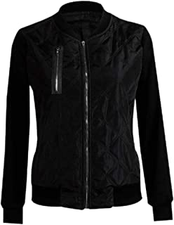 Women Warm Thicken Long Sleeve Zip Front Quilted Bomber Jacket