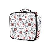 LUPINZ Bolsa de cosméticos con patrón de ancla y brújula de embrague, bolsa organizadora de viaje para niña