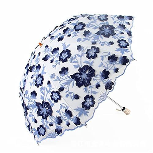 KHAILIUB Sombrilla Pantallas de Mujer Salida de la Lluvia Sun Encaje Plegable Parasol Chica Parasol Outdoor Summer Boda Parasol Flower Boda Sombrillas (Farbe : A)