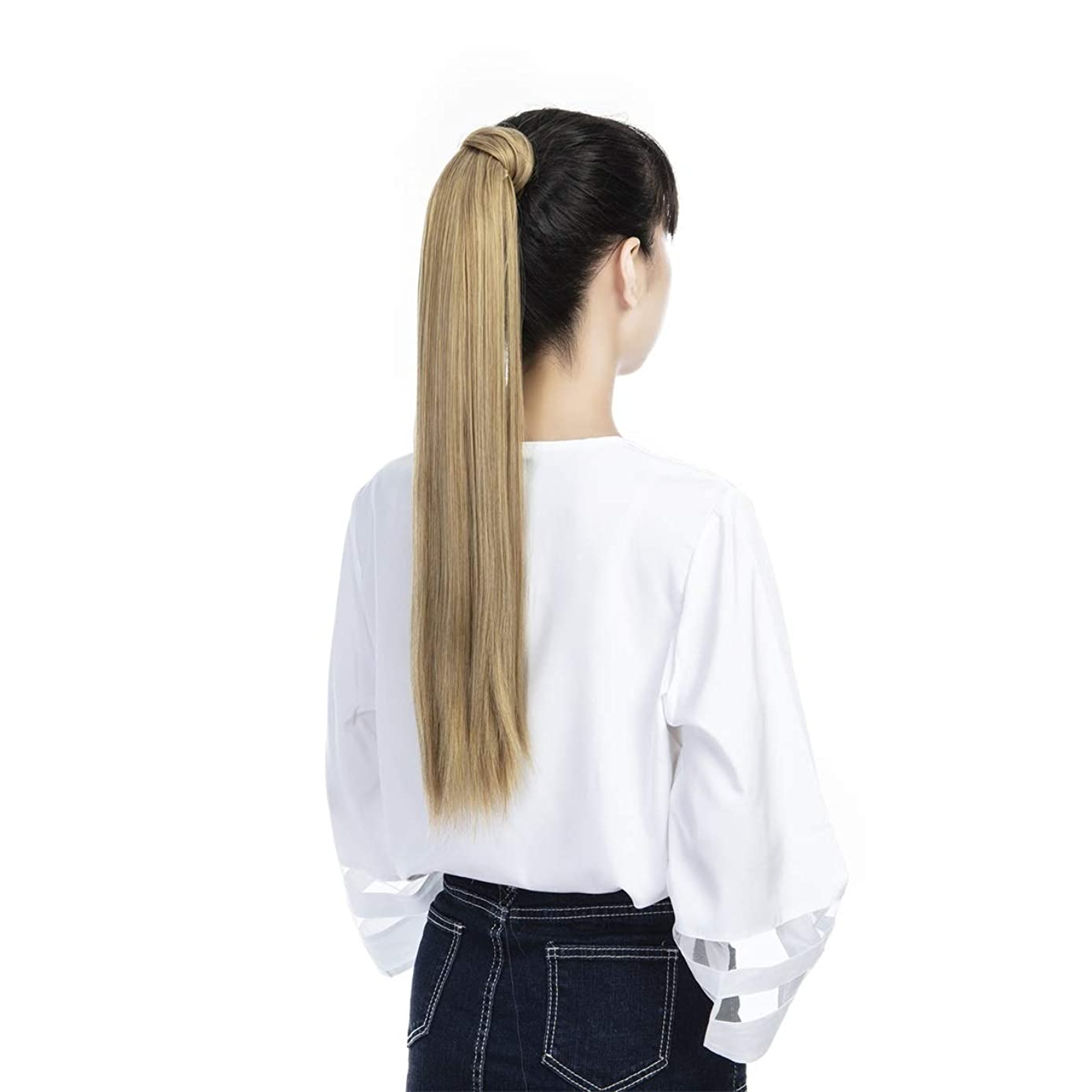 FUT Wrap Around Ponytail One Piece Clip in Curly Pony Tial Hair Extensions 18inch 90g for Girl Lady Women Dark Black