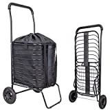 dbest products Cruiser Flex Shopping Cart with Bag Cover Grocery Rolling Folding Laundry Basket on Wheels Foldable Utility Trolley Compact Lightweight Collapsible, Black
