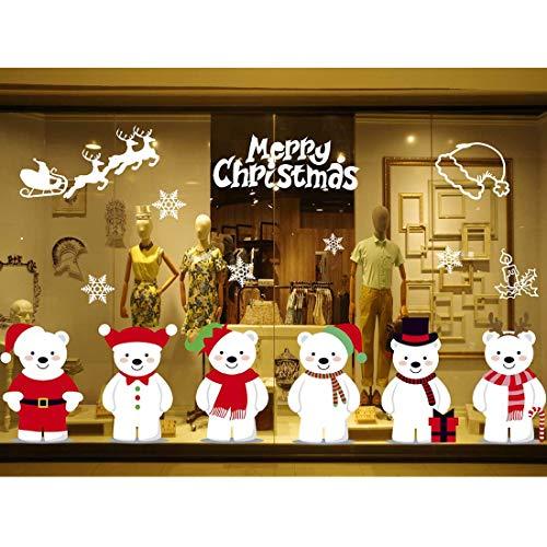 Yuson Girl Weihnachten Aufkleber Fenster Sechs Süß Bären Abnehmbare Weihnachten Deko Wandtattoo Weihnachten Statisch Haftende PVC Aufkleber Fensteraufkleber Wandaufkleber Weihnachten