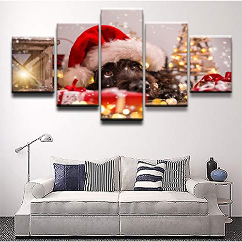YXBNB 5 Leinwandbilder5 Stücke Hund Mit Weihnachtsmütze Bild Leinwand Gemälde Schlafzimmer Dekor Abstrakte Tier Nette Poster Wandkunst