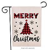 Artofy Merry Christmas Garden Flag, Decorative Xmas Outdoor Flag Sign Buffalo Check Plaid Tree, Rustic Burlap House Yard Garden Flag Winter Outside Decoration Seasonal Home Decor Flag 12 x 18