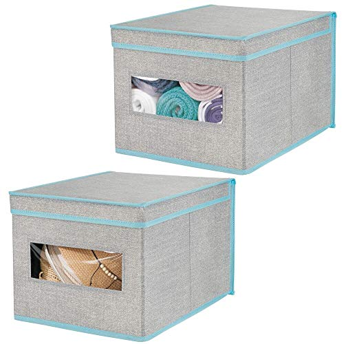 mDesign förvaringslåda med lock och fönster – låda för förvaring garderob – tyglåda för skåporganisering och garderobsinredning – 2-pack – grå/blå
