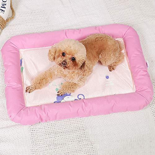 Summer Pet Bed Cold Pad, Ice Silk Mat Stripe Kennel Kussen, Sterk en stevig, anti-slip, voor middelgrote kleine honden katten puppy slapen,Pink,S