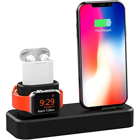 3 in 1 Charging Dock, Megadream Silicone Charging Stand Station for Apple Watch Series 1/2/3/4, Airpods, iPhone Xs/Xs Max/Xr/X/8/8 Plus/7/7 Plus/6 (Not Include Cable/ Adapter)