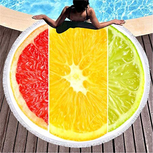 WWWLD Karikatur Obst Runde Strandtuch Mikrofaser Bad Duschtücher Sport Yoga MatteC.