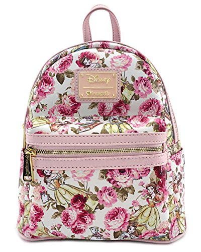 Loungefly x Beauty and the Beast Character Floral Print Mini Faux Leather Backpack