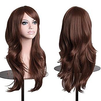 AneShe Wigs 28  Long Wavy Hair Heat Resistant Cosplay Wig for Women  Dark Brown