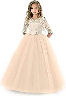 Girl Long Sleeve Lace Tutu Princess Pageant Dresses Kids Prom Ball Gown for 2-14 Years