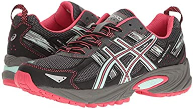 ASICS Women's Gel-Venture 5 Trail Runner, Carbon/Diva Pink/Bay, 10 M US