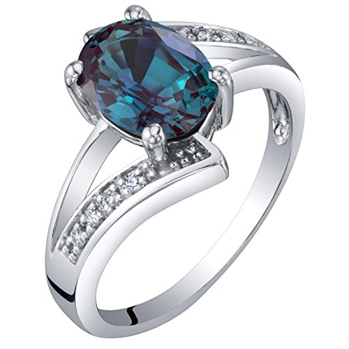 14K White Gold Created Alexandrite and Diamond Solitaire Bypass Oval Ring 1.50 Carats Size 6 14k June Birthstone Ring