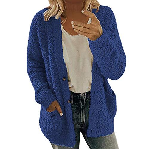 Xiangdanful Winterjacke Damen Einfarbig Plüschjacke Fleecemantel Button Down Winter Mantel Warm Kapuzenjacke Parka Frauen Winterjacke Langarm Cardigan Dicke Jacke Outwear Blouse (L, Blau)