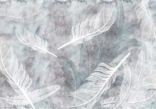 wandmotiv24 Fototapete Federn Aquarell Weiß, XL 350 x 245 cm - 7 Teile, Fototapeten, Wandbild, Motivtapeten, Vlies-Tapeten, Vintage, Gemalt, Grau M1809