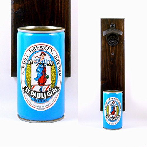 Wall Mounted Beer Bottle Opener With A Vintage Imported St. Pauli Girl Beer Can Cap Catcher