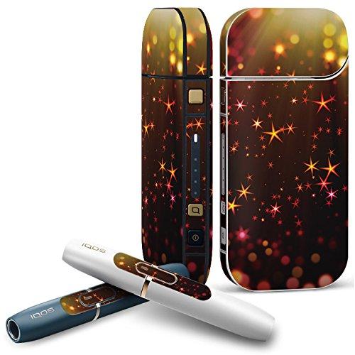 IQOS 2.4 plus 専用スキンシール COMPLETE アイコス 全面セット サイド ボタン デコ クール 黒 ブラック 星 スター きらきら 008679