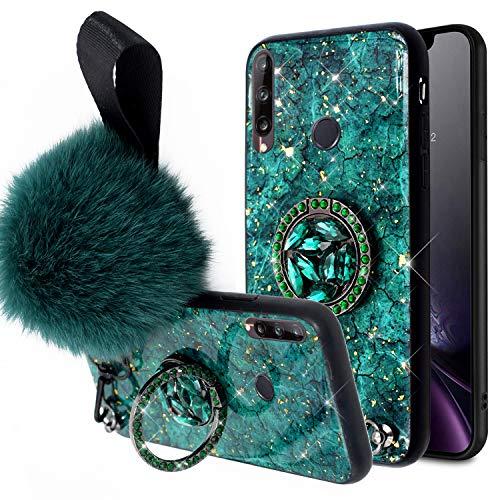 Urhause Coque Compatible avec Huawei P40 Lite E/Y7P Gliter Bling Paillette Diamant Strass Pompon Support Anneau 360 DegrésTPU Silicone Gel Bumper Case Cover Anti Choc Housse Etui de Protection,Vert