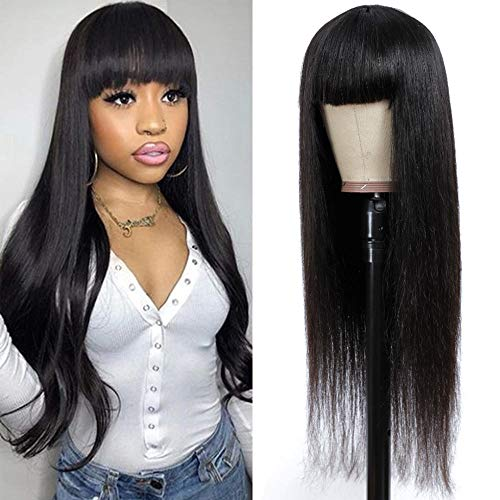 Straight Human Hair Wigs with Bangs 150% Density None Lace Front black wigs Glueless Machine Made Wigs for Black Women Human hair(20)