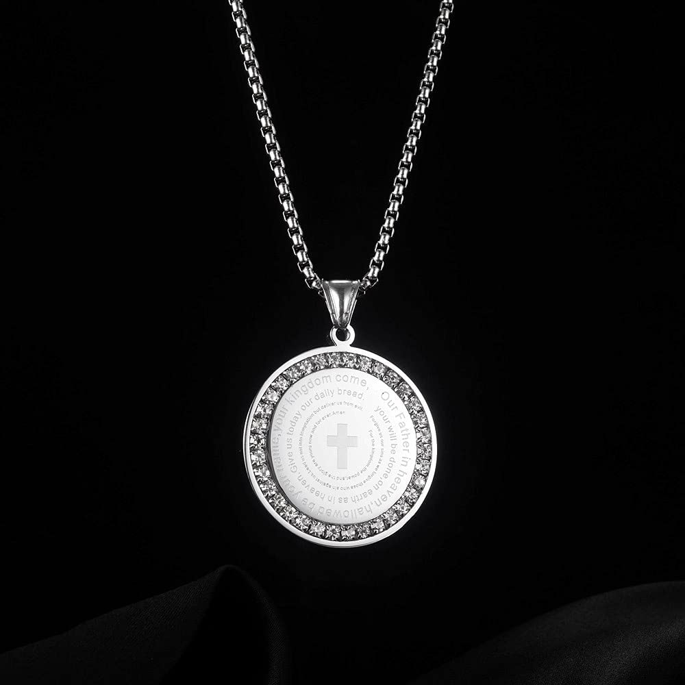 CZ Coin Bible Verse Cross Necklace for Men Women Boys Girls Christian Jewelry Gold Stainless Steel Inspirational Faith Disc Medal Pendant 21.6