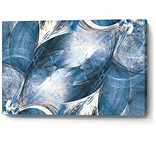 gaosoul Wall Art Canvas Abstract Art Paintings Blue Circle Graffiti on White Background Modern Artwork Decor for Living Room Bedroom Kitchen 24X16in