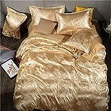 WAWA Anti-dissolvenza, Anti-allergico, Morbido e Caldo,Lenzuolo copriletto in Raso Jacquard copriletto Tinta Unita Set di 4 Set Color Cammello Oro 200 * 230 cm