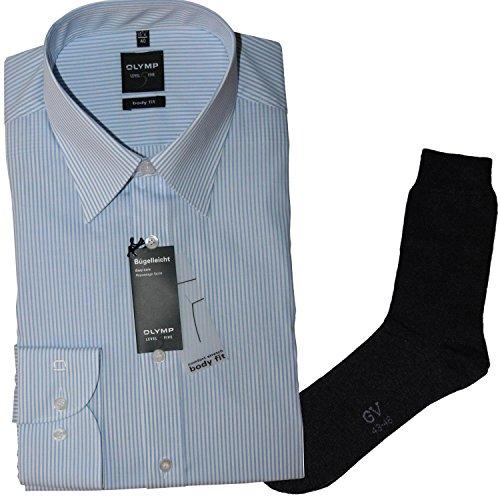 OLYMP Herrenhemd Level Five, Body fit, Langarm, Italien Kent Kragen, blau-weiß gestreift + 1 Paar hochwertige Socken, B&le