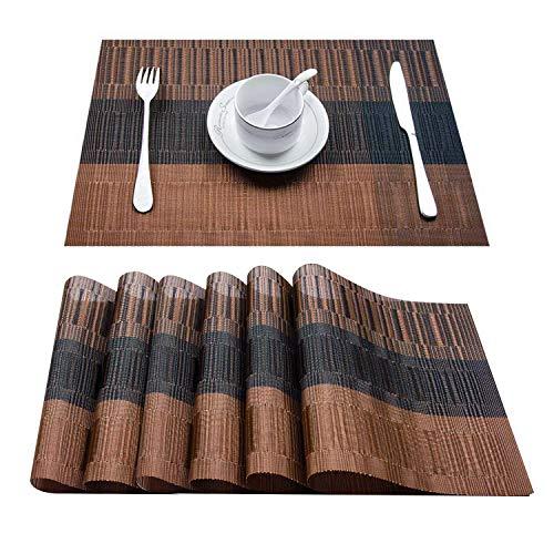 Topfinel 6 Set de Table Bambou en PVC Sets de Table Plastique Tapis résistants au tapotement lavables à Manger pour Cuisine, 30x45, Brun et Noir
