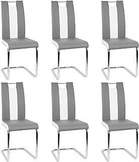 Lot de 6 Chaise de Salle à Manger Chaises de Maison en Forme d'arc à Dossier Unique pour Cuisine/Salle à Manger/Jardin (Gr...