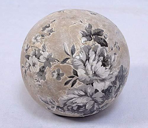 linoows Rosenkugel, Terrakotta Gartenkugel mit Blumenmuster, Landhaus Beet-Kugel 12 cm