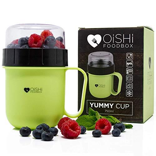 OISHI LUNCHPOT YUMMY CUP - Joghurt Salat Müsli Becher 750ml - Auslaufsicher - Extra-Fach für Obst Früchte & Co - BPA-Frei - Spülmaschine Mikrowelle & Gefrierschrank - Reisebecher Lunchbox To Go Henkel