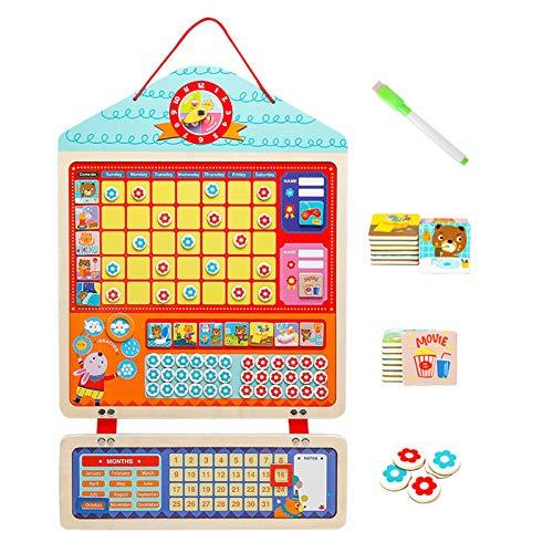 WFF Spielzeug Kids Reward Tabelle Selbstdisziplin Hanging Board Verhalten Habit Verantwortung Diagramm Einfaches Ziel Reward Aktivität Recording-Brett for 3+ Kinder zu installieren