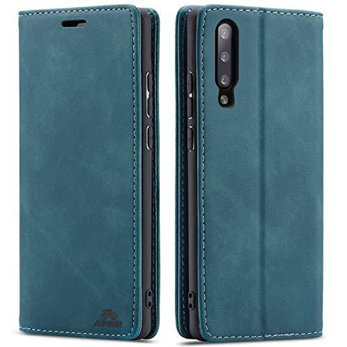 AFARER A7 2018 hülle,Galaxy A7 2018 hülle,Handyhülle mit Einfache Art Tasche Lederhülle Flip Hülle Brieftasche Handy hülle für Samsung Galaxy A7 2018 - Blau