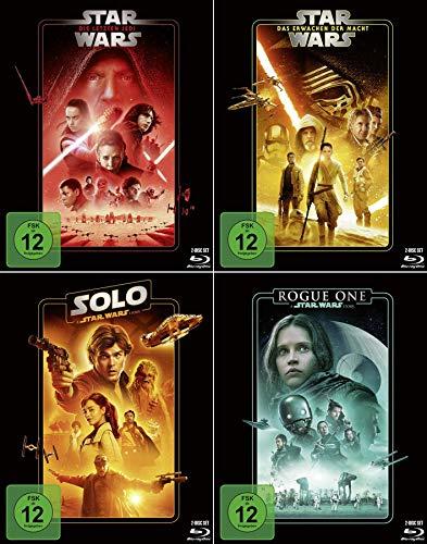 Star Wars 4er Set - Rogue One: A Star Wars Story + Solo: A Star Wars Story + Star Wars: Die letzten Jedi + Star Wars: Erwachen der Macht (Line Look Edition Pappschuber)