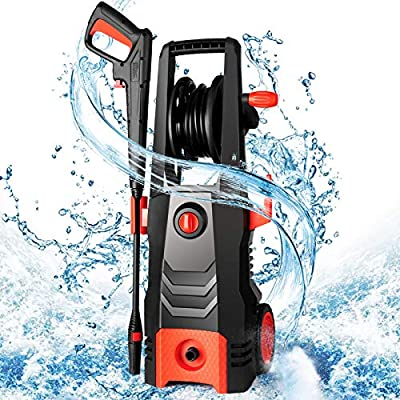 SIMBR High Pressure Washer, 3500PSI 2.6 GPM Upgrade Electric Power Washer, 1800W High Power Cleaner with Hose Reel, All-in-One Adjustable Nozzle, Ideal for Fence, Yards, Ground, Cars Cleaning