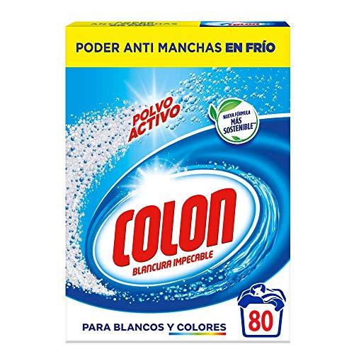 Colon Polvo Activo - Detergente Para Lavadora, Adecuado Para Ropa Blanca Y De Color, Formato Polvo - Dosis, 4.96 kg, 80 Mililitro
