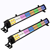 Eyourlife 2PCS 48 x 3 W LED Wash Wall Light Bar DJ Lighting DMX512 3/12 Channels Stage Lights 8 Colors LED Lighting for DJ Club Home Party Wedding Lights