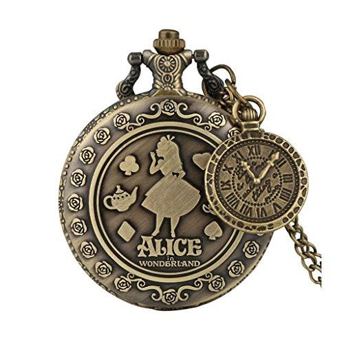 HBIN Bronce Lovely Princess Quartz Relojes de Bolsillo Rabbit Carousel Vintage Fob Relojes con Accesorio (Color : A)