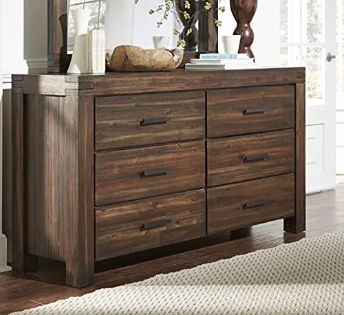 Modus Furniture 3F4182 Meadow Six Drawer Solid Wood Dresser, Brick Brown